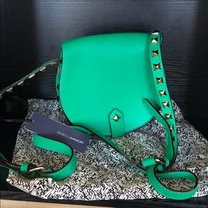 RebeccaMinkoff Green Leather Stud Saddle Crossbody